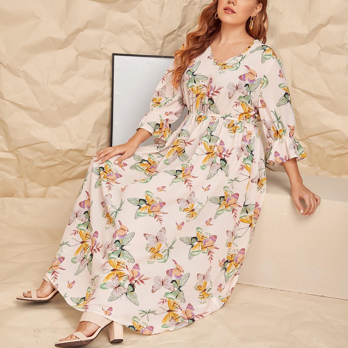 Платье размера плюс с принтом бабочки