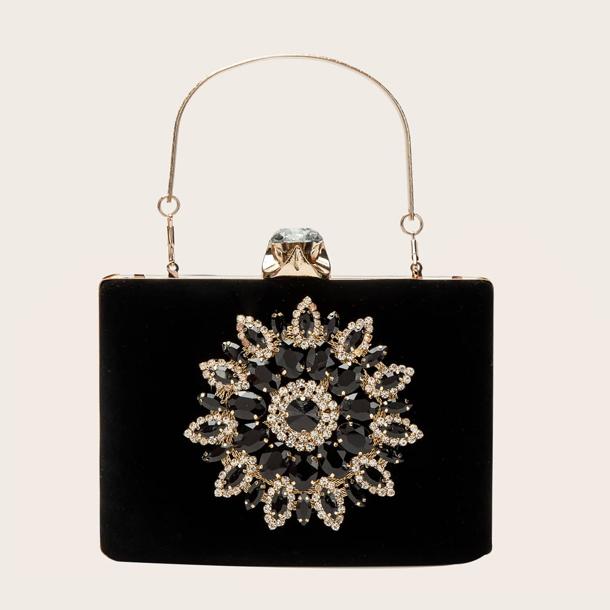 Сумка-клатч с цветочным декором из драгоценных камней