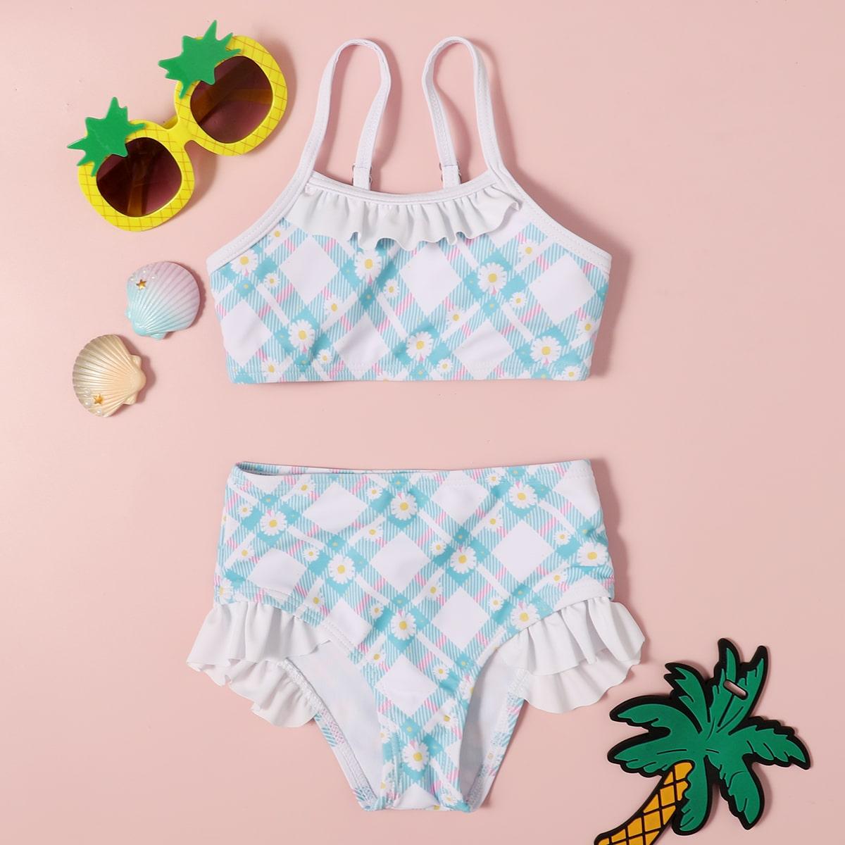 Bikini mit Karo & Blumen Grafik und Rüschen