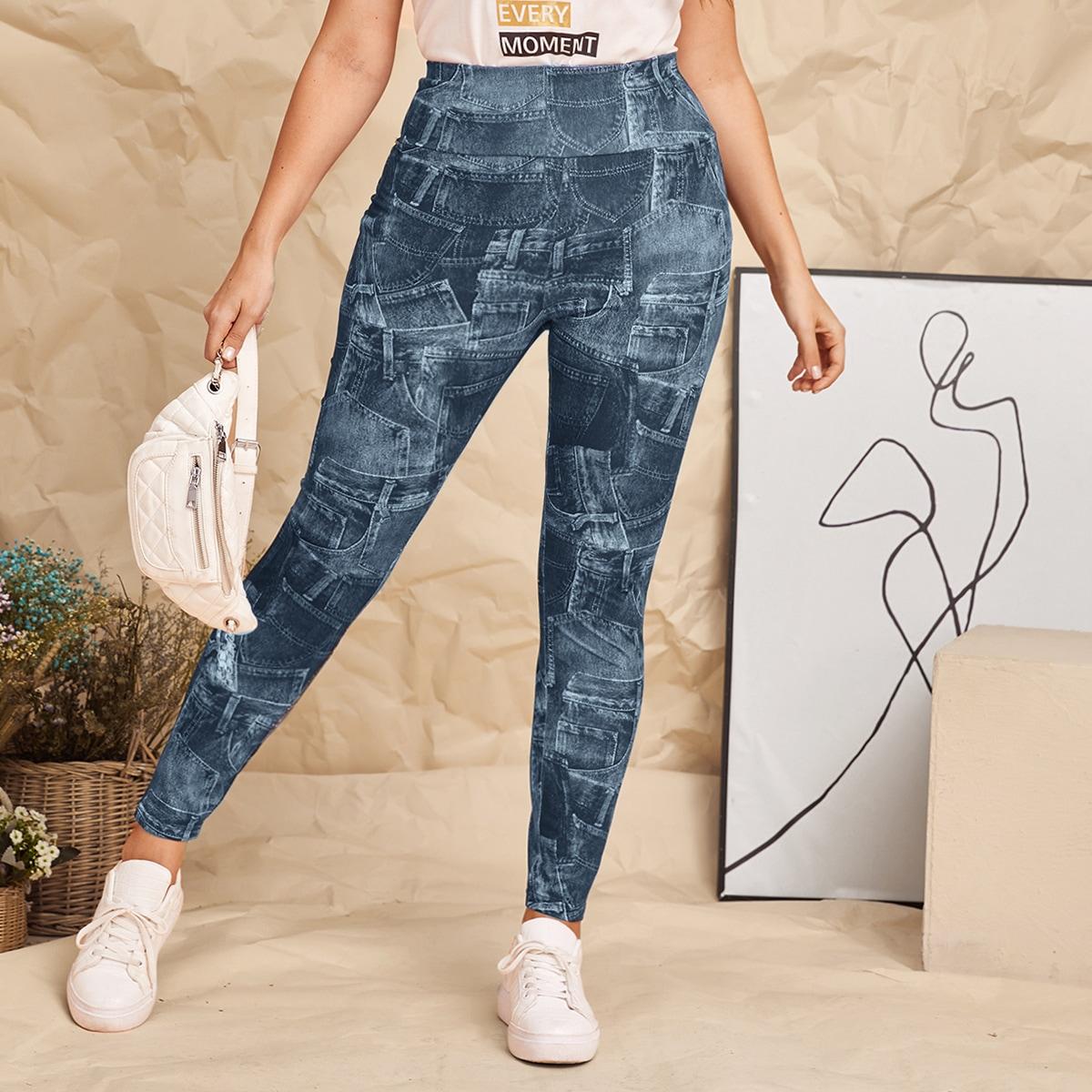 SHEIN Casual Grafisch Grote maat: legging
