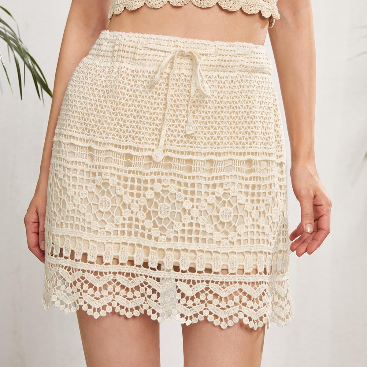 Прозрачная пляжная юбка крючком с узлом по цене 530