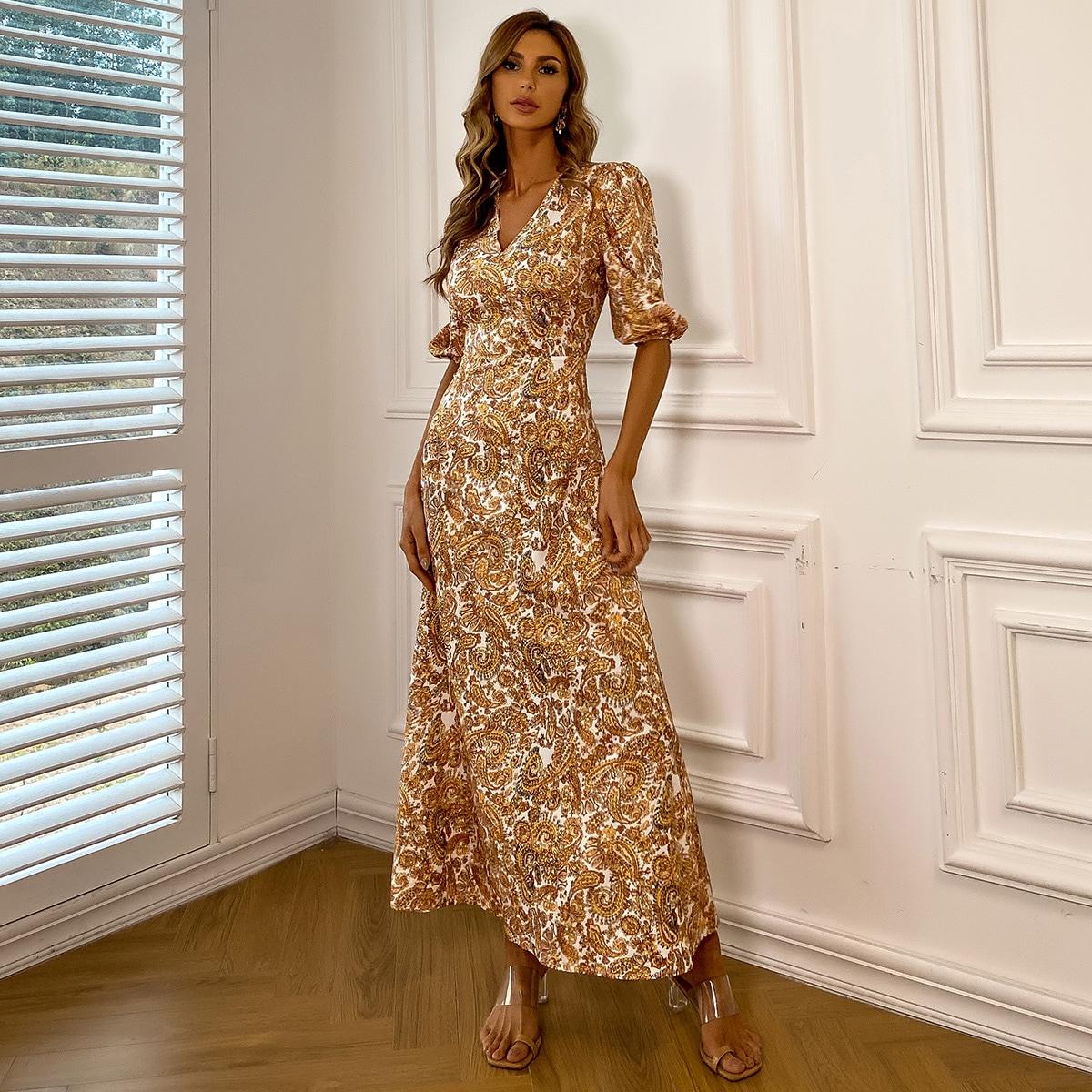 на молнии Пейсли Элегантный Платье