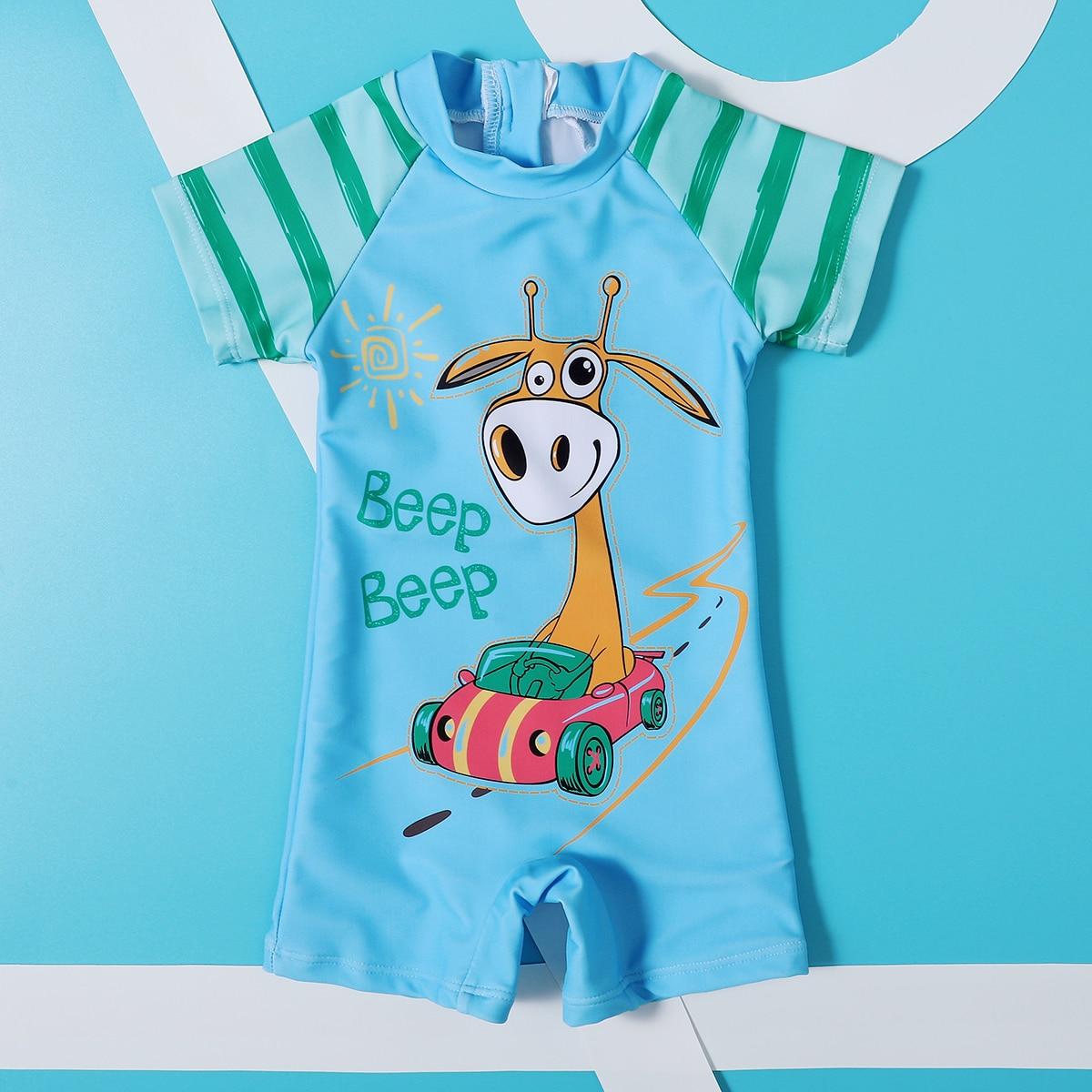 на молнии Полосатый милый купальник для малышей по цене 476
