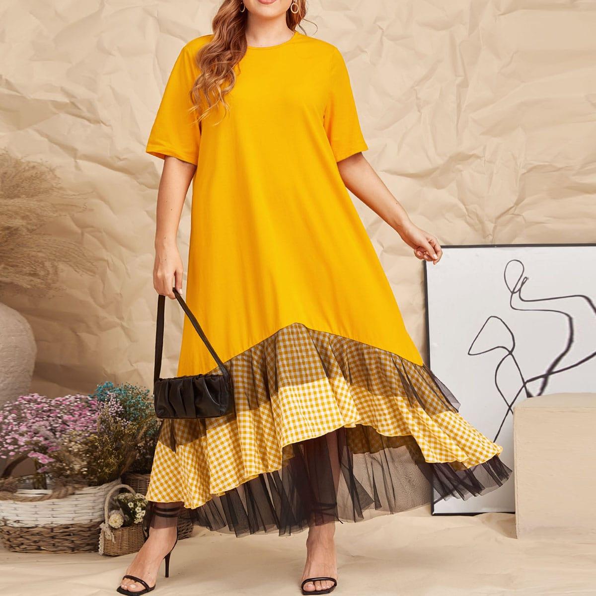 Платье размера плюс с сетчатой отделкой