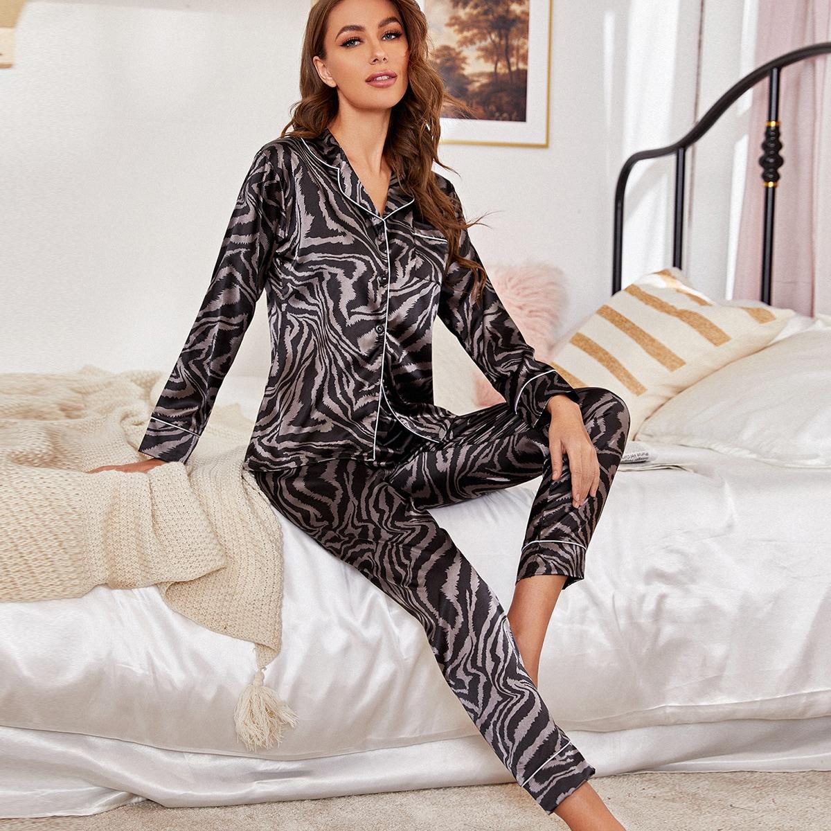 с карманами в полоску зебры Элегантный Комплект пижамы