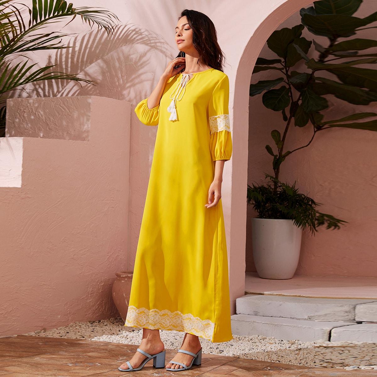с бахромой Контрастный цвет Скромный Платье по цене 1 220