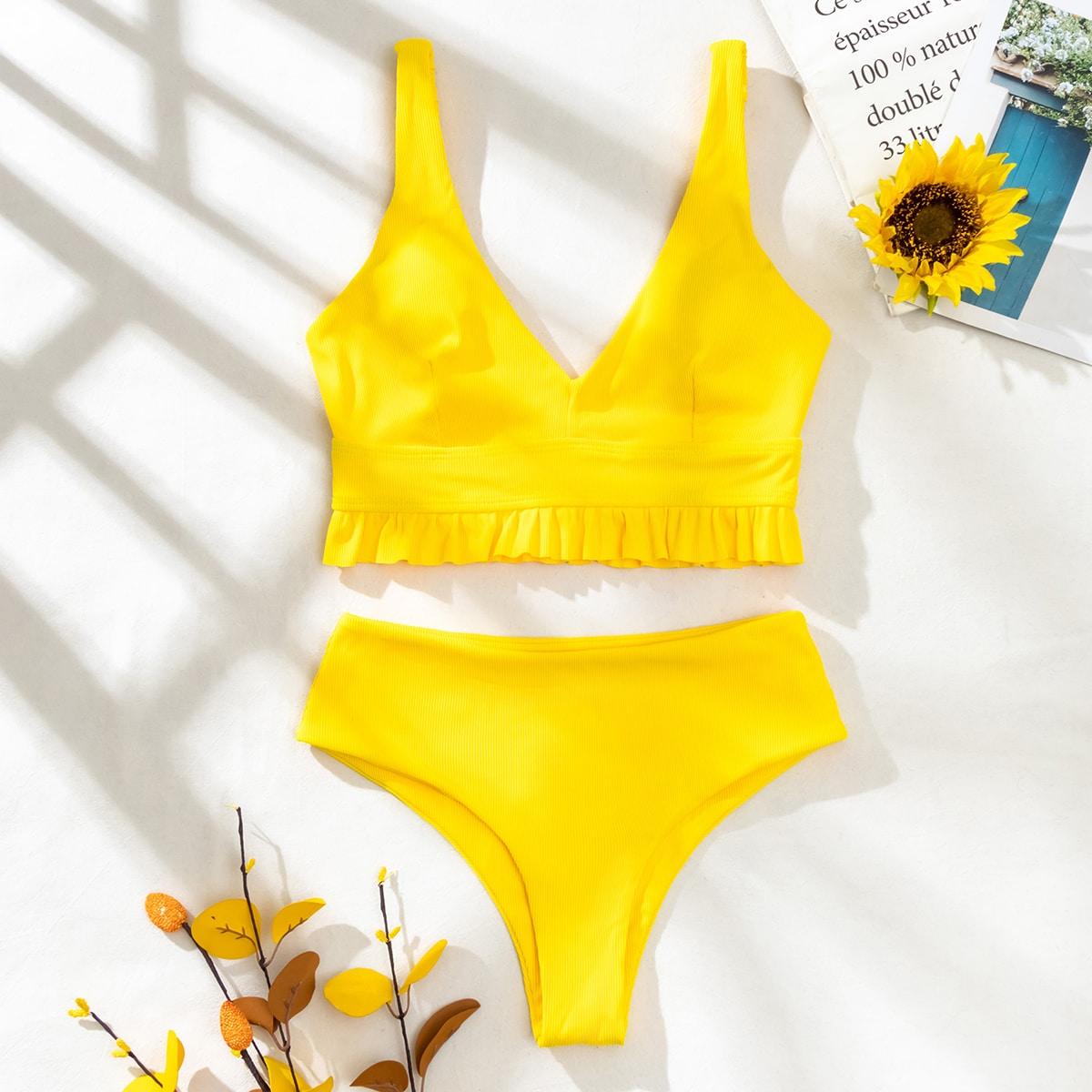 Rib Ruffle Hem Bikini Swimsuit