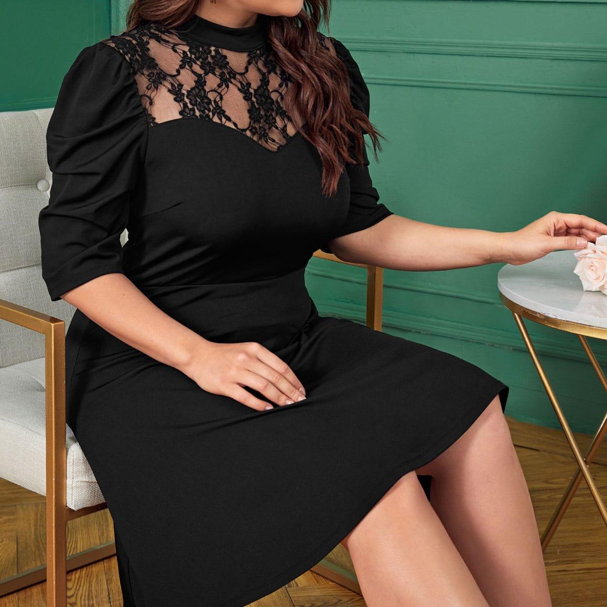 Платье размера плюс с пышным рукавом и кружевной вставкой