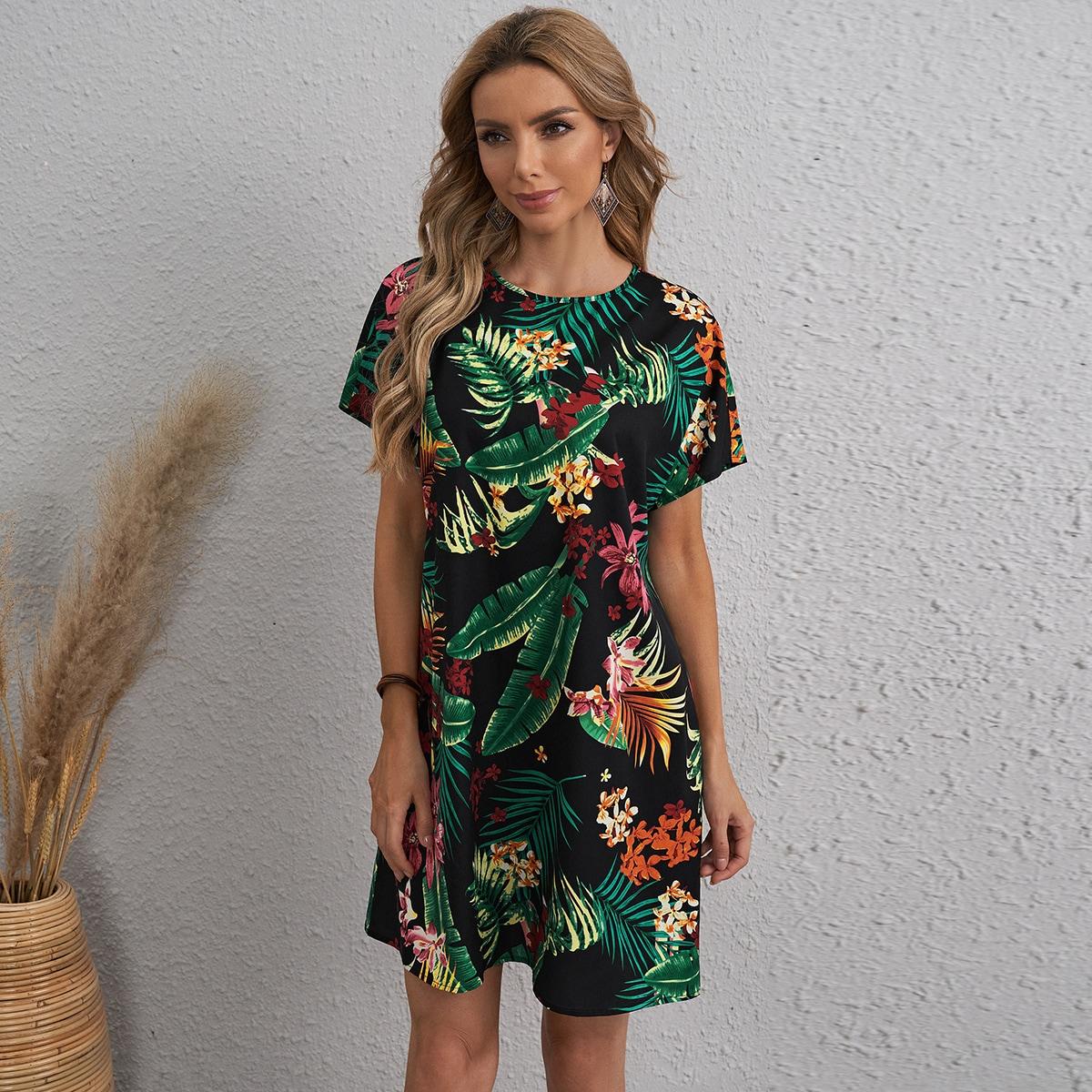 Платье с тропическим принтом и застежкой сзади
