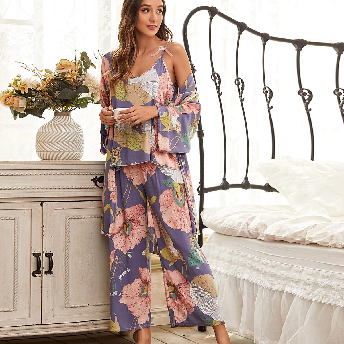 узел Цветочный принт Элегантный Пижама