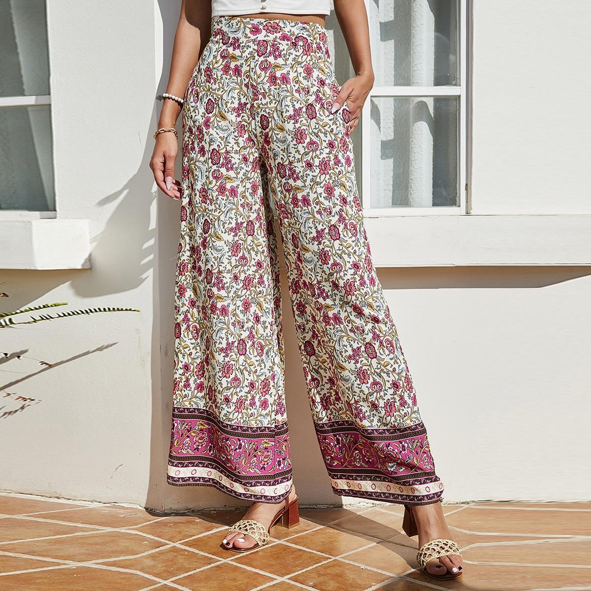 Широкие брюки с цветочным принтом и высокой талией