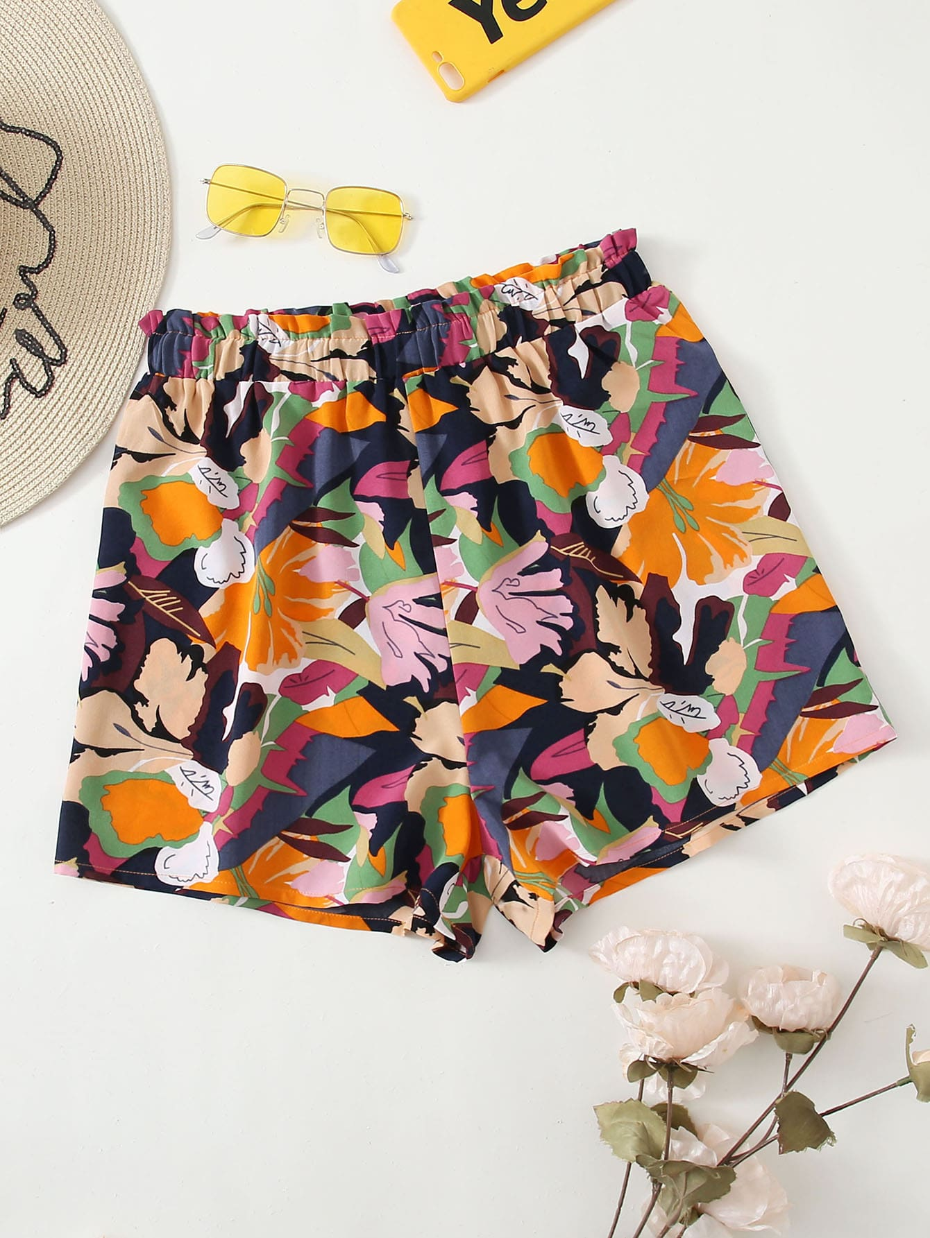 Floral Print Frill Waist Shorts