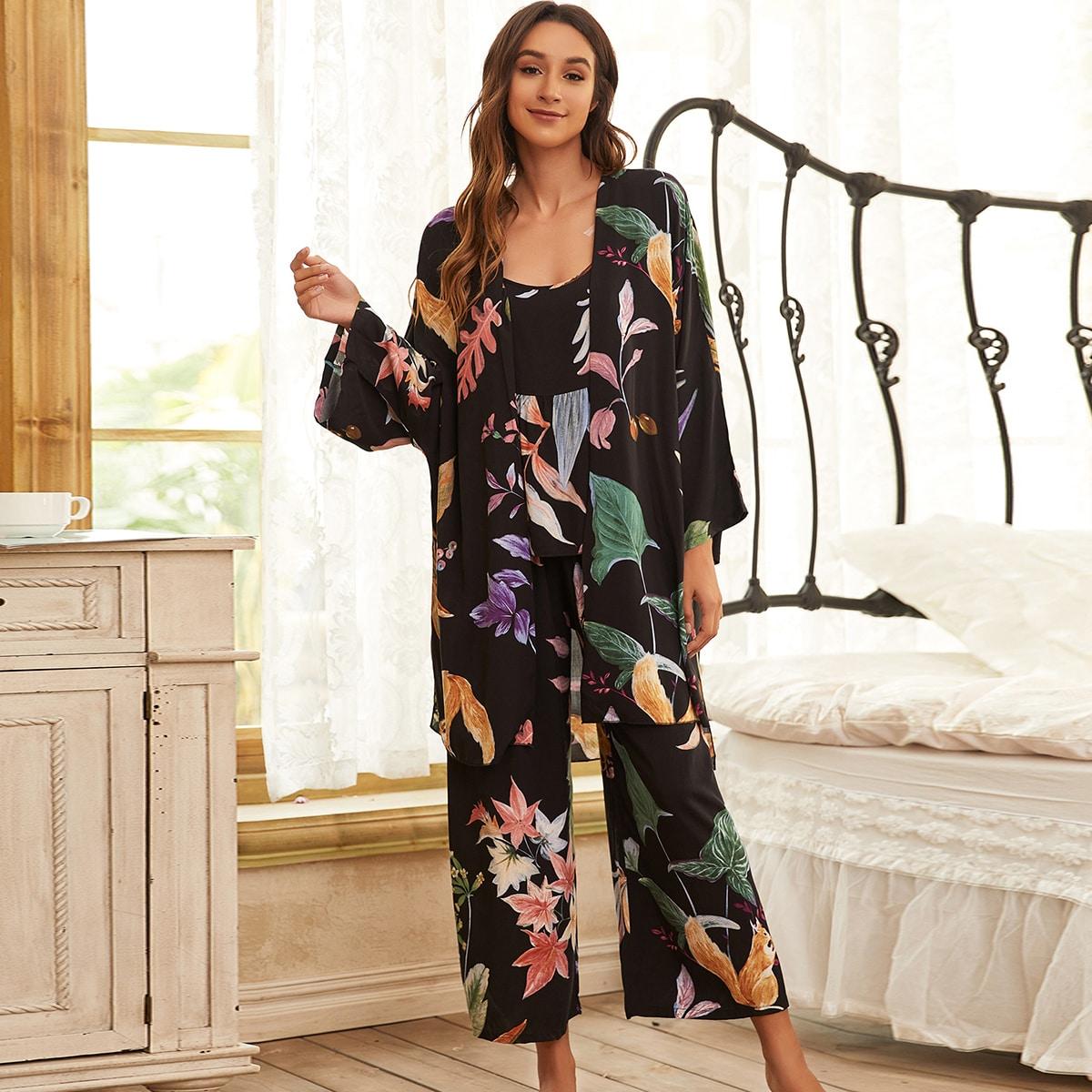 3шт пижама с цветочным принтом