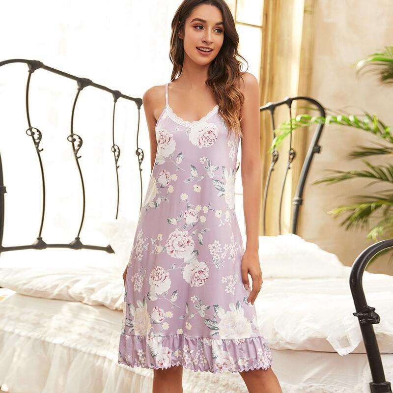 Floral Lace Insert Ruffle Hem Cami Nightdress, Lilac purple