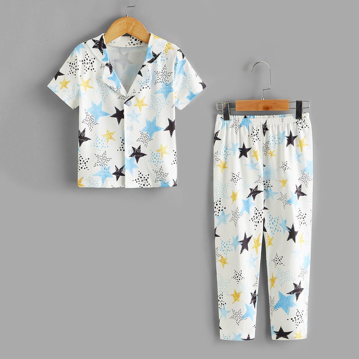 Пижама на пуговицах с принтом звезды для мальчиков