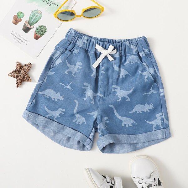 Джинсовые шорты с принтом динозавра для мальчиков, Легко-синий
