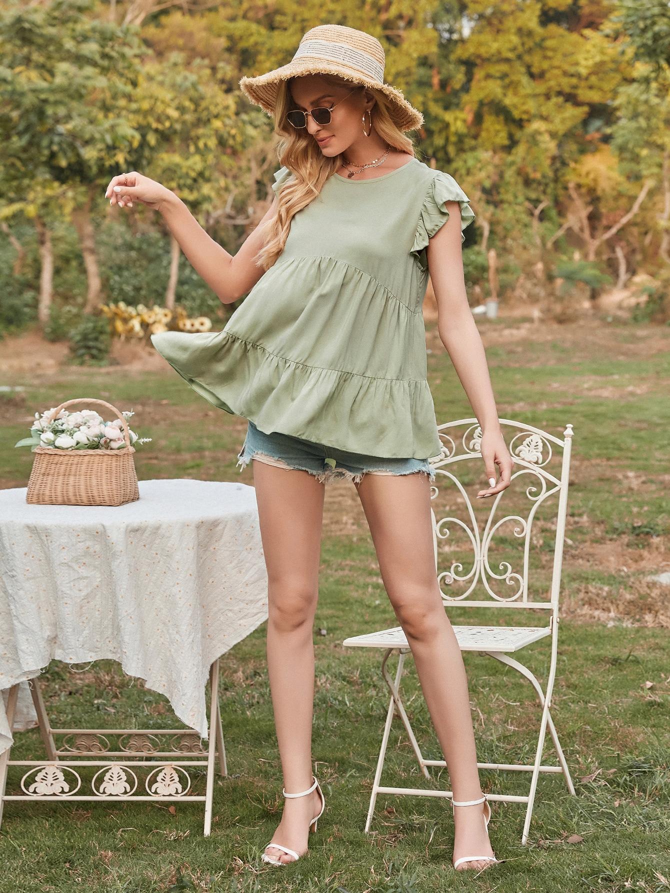 ruffle cuff solid smock blouse