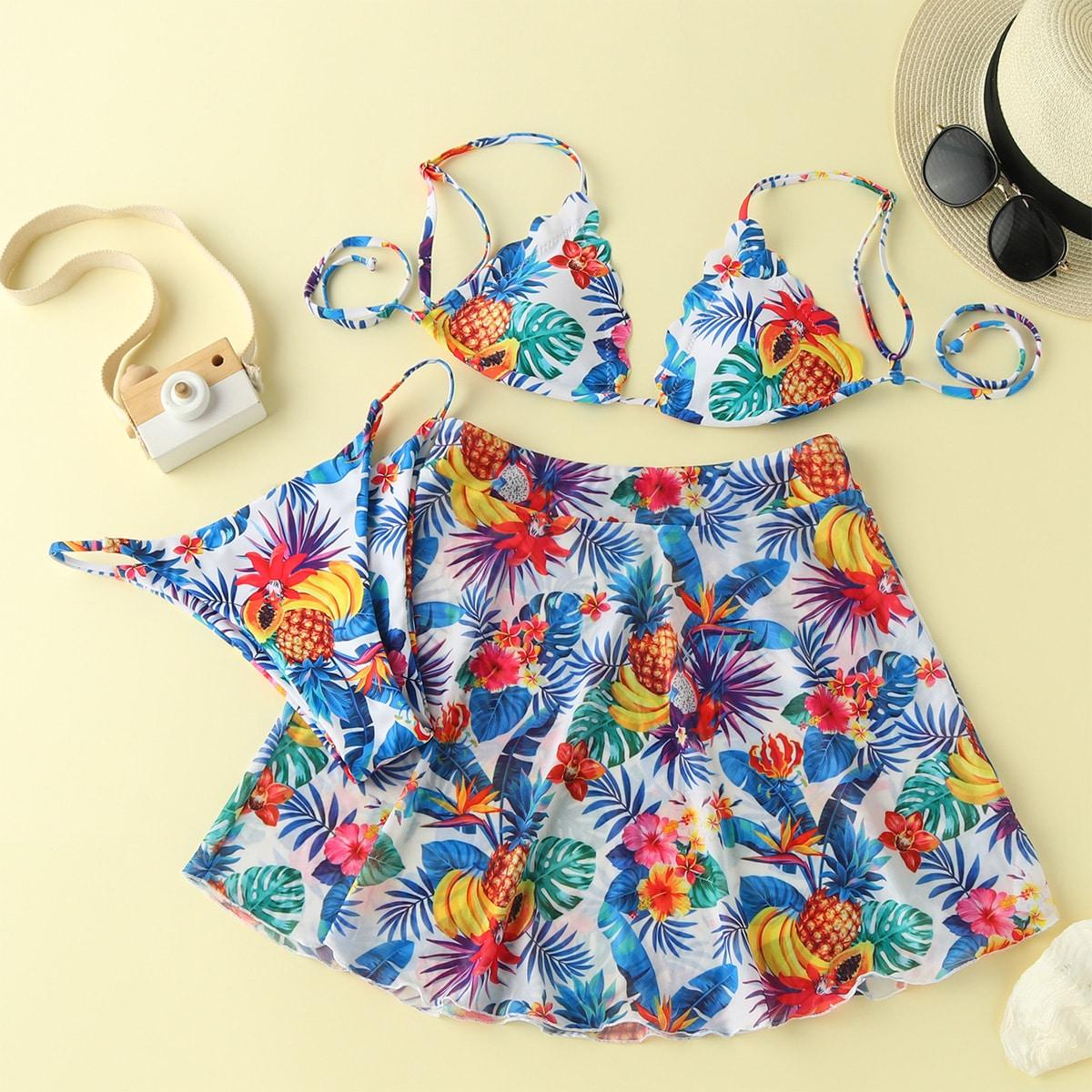 3 пакета бикини и пляжная юбка с цветочным, тропическим принтом