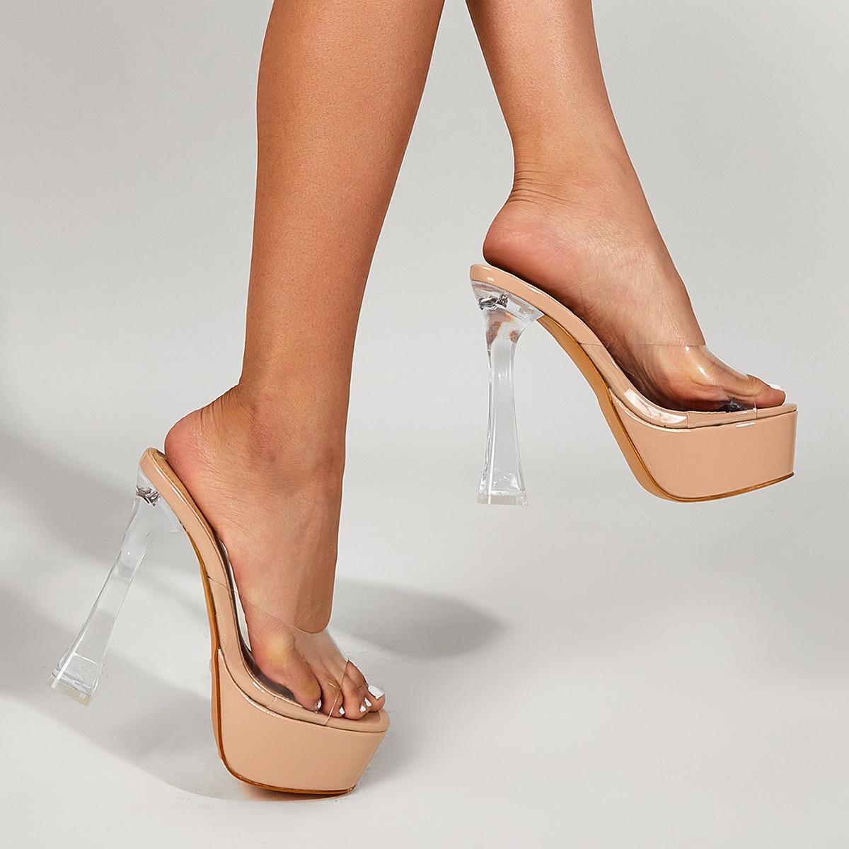 Прозрачные сандалии на платформе