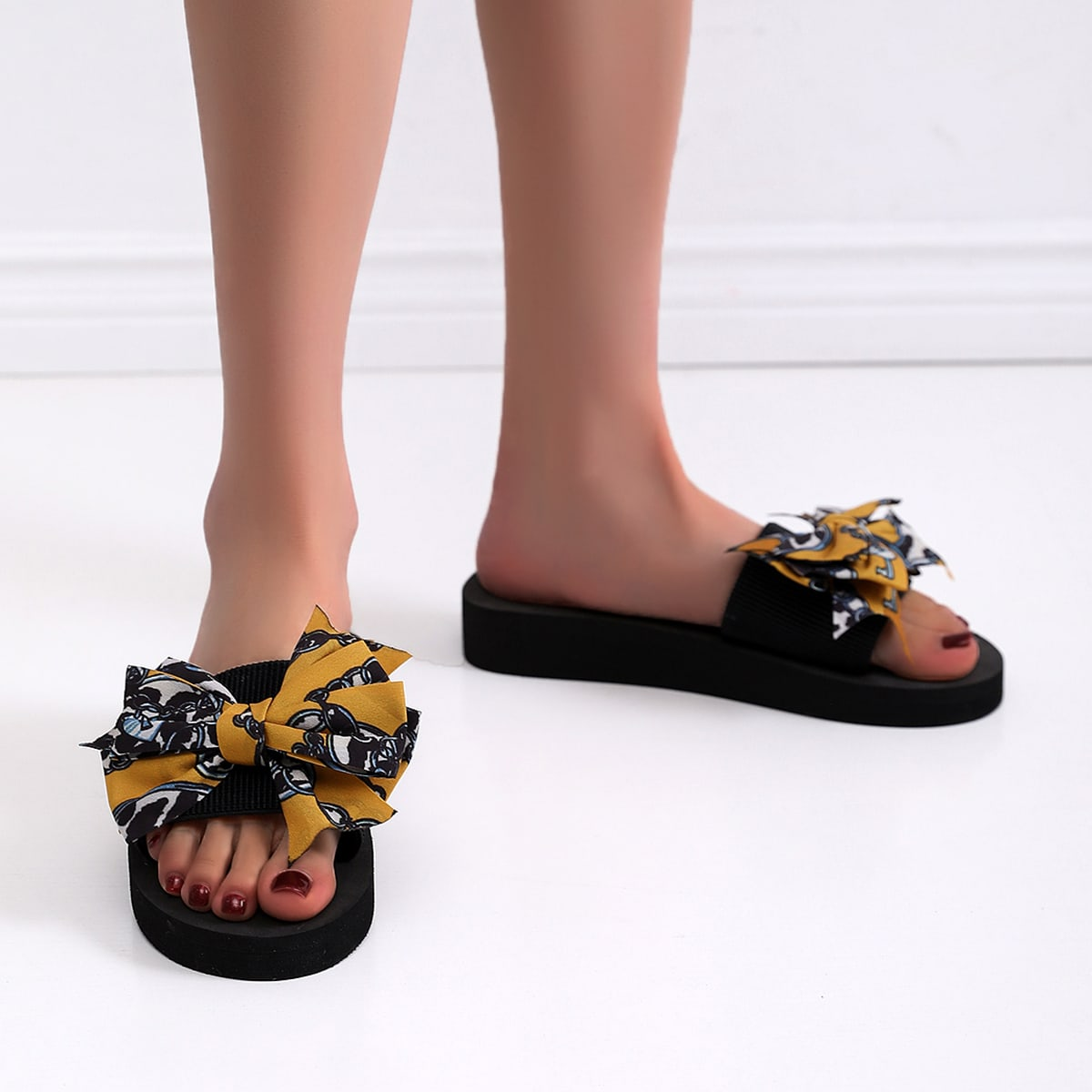shein Open Toe Bow Decor Dia's