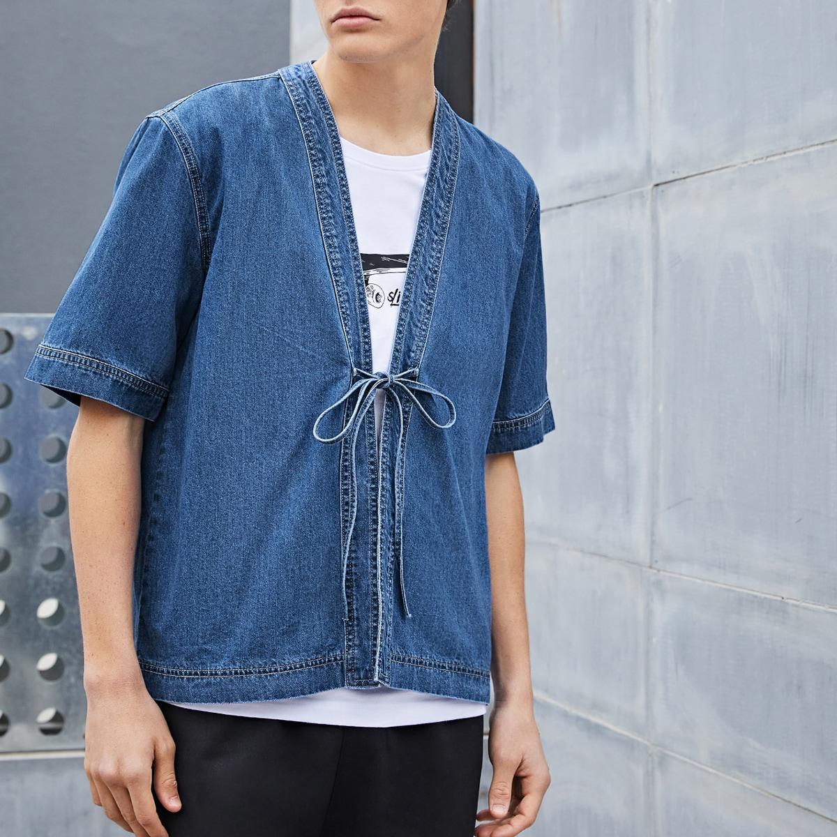 С батом перед одноцветный повседневный мужские джинсовые рубашки