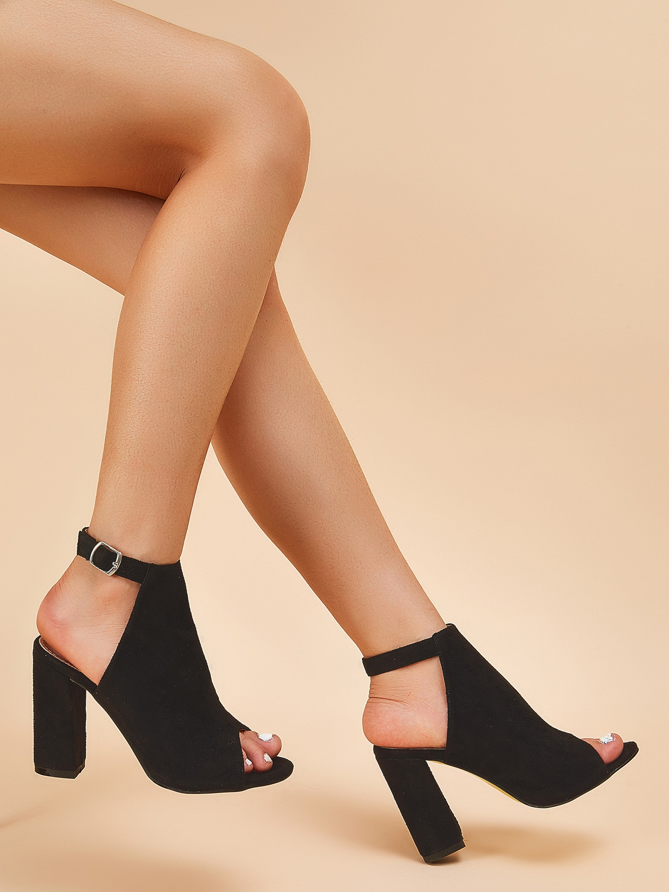 Ankle Strap Chunky Heeled Suede Boots