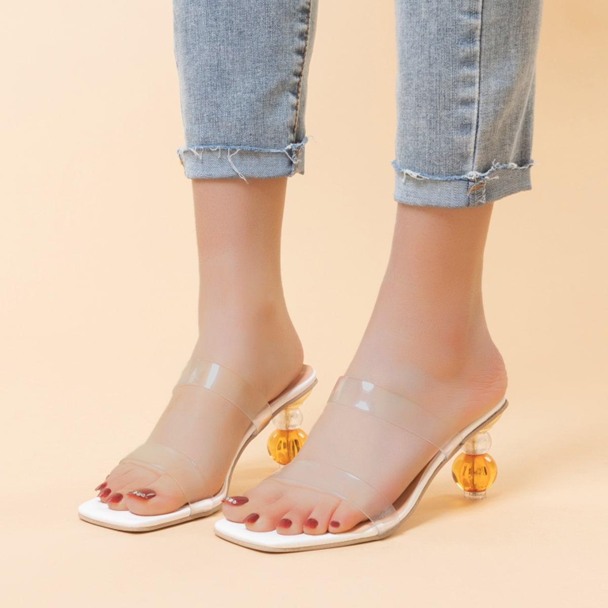 Прозрачные мюли на каблуке