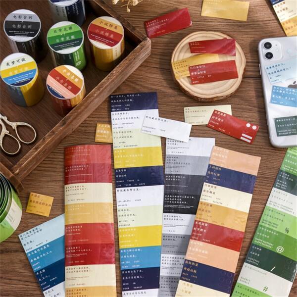 1roll Slogan Graphic Random Tape Sticker, Multicolor