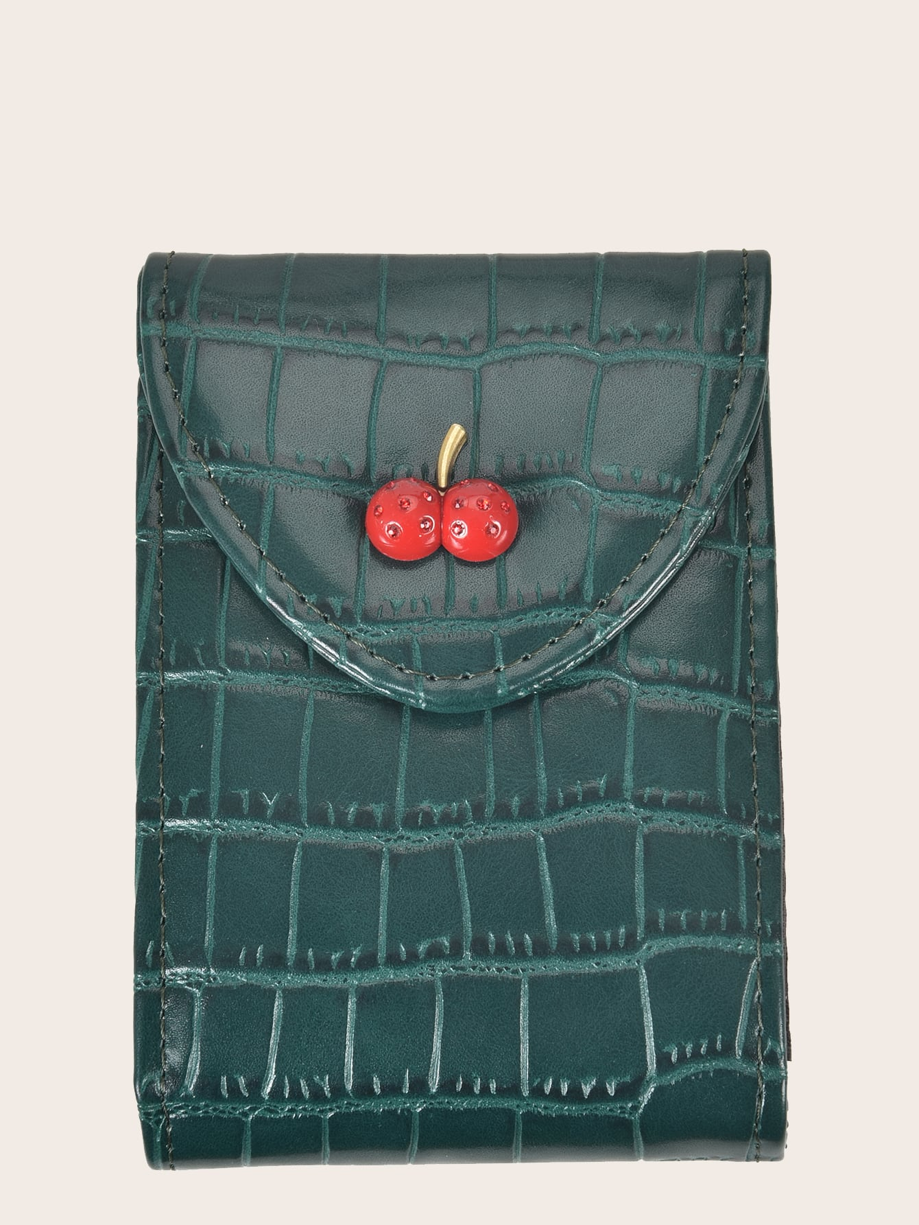 cherry decor croc embossed card holder