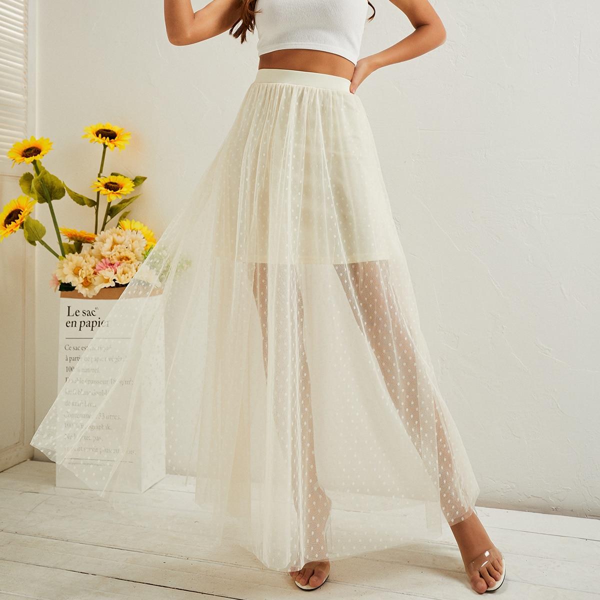 Сетчатая расклешенная юбка