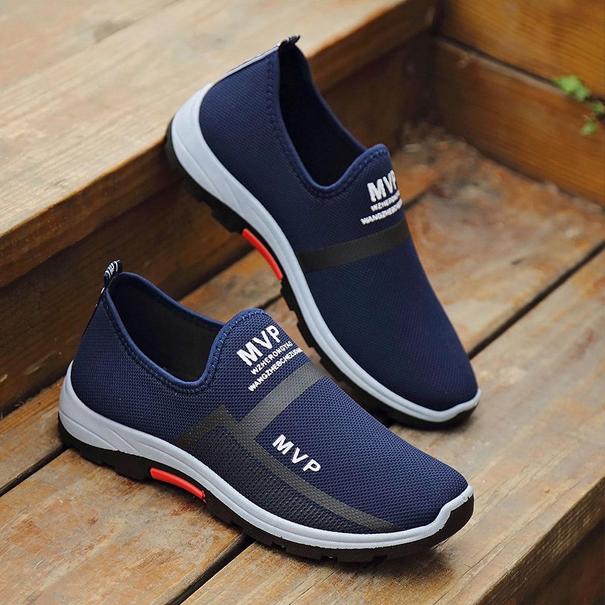 shein Grafische antislip alfabet sneakers voor heren