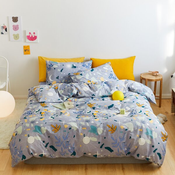 Graphic Print Duvet Cover Set Without Filler, Multicolor