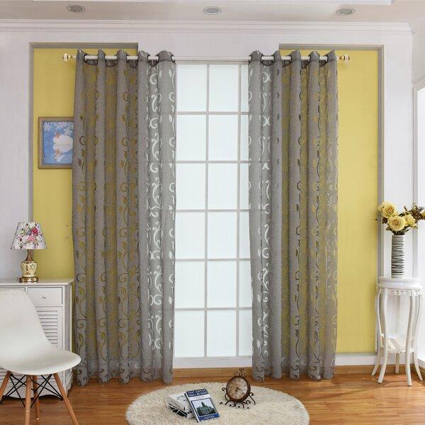 Vine Print Single Panel Curtain, Grey