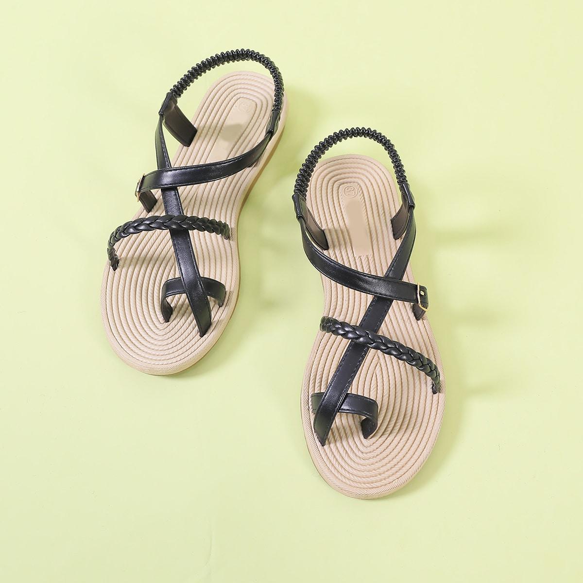 shein Gevlochten riem Slingback Thong sandalen