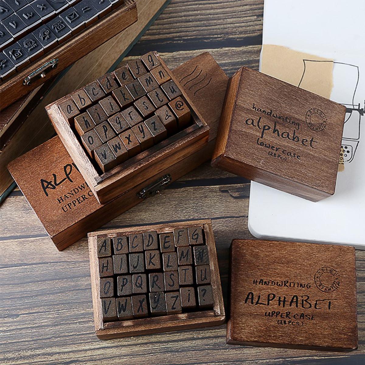 1 scatola timbro di legno grafico lettera