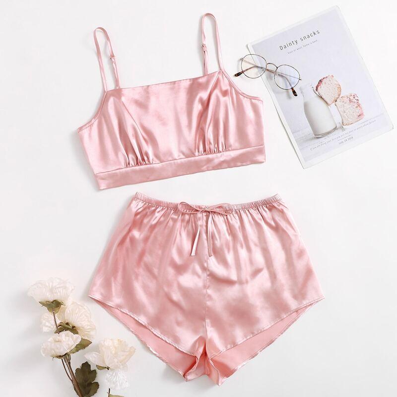 Satin Tie Front Cami Night Set, Baby pink