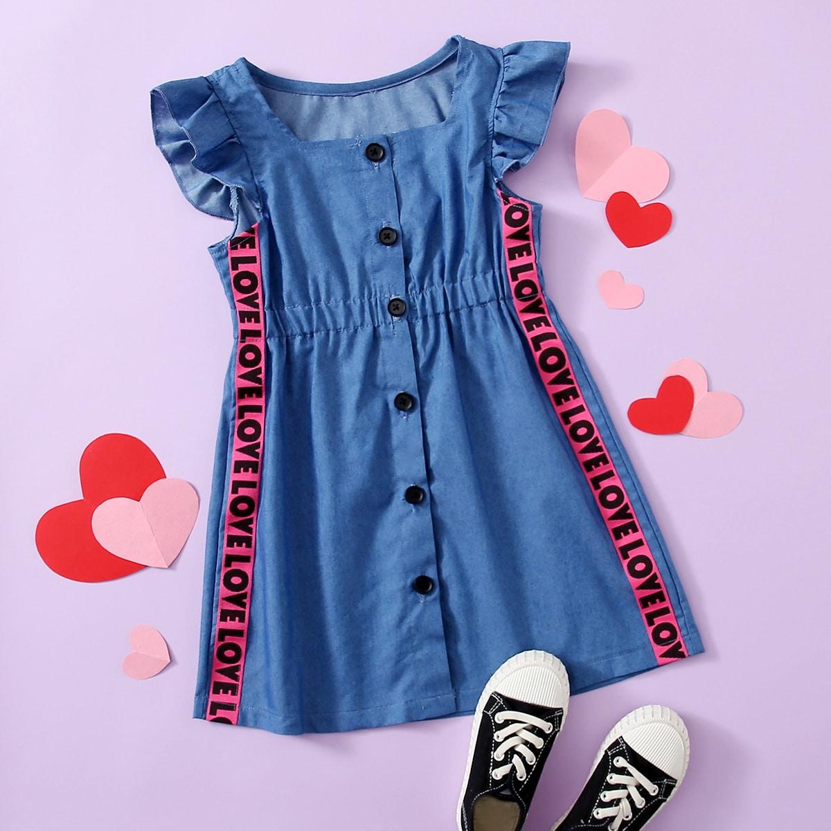 с оборками буква милый Джинсовые платья для девочек SheIn skdress03201229198