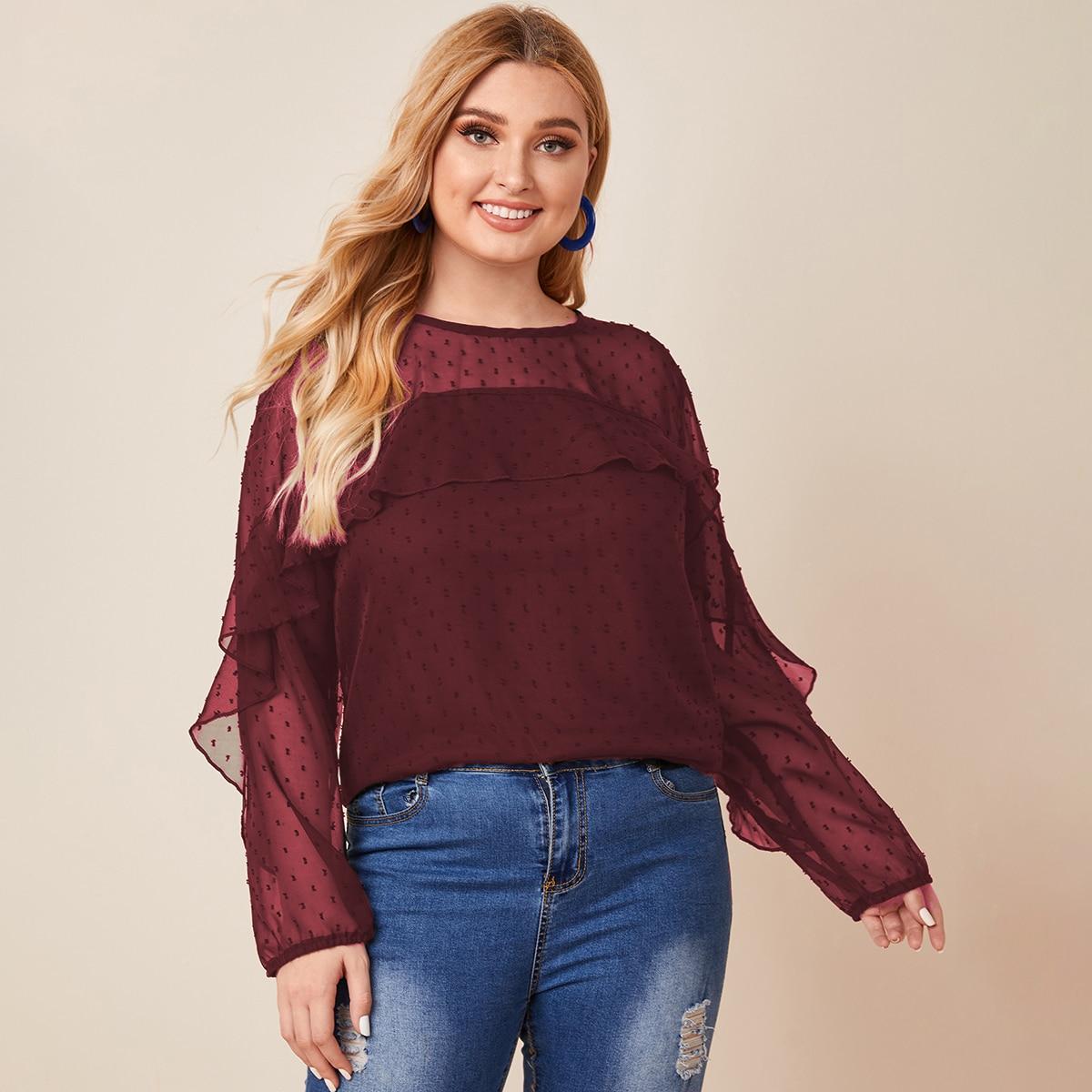 Блузка размера плюс с оборкой