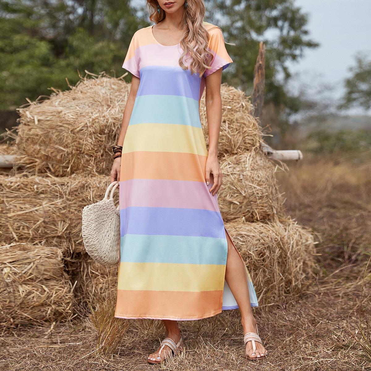 Разрез Радужные полосы Повседневный Платье