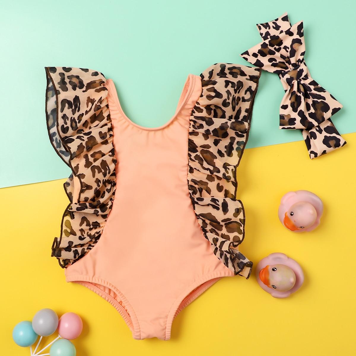 с оборками Леопардовый милый купальник для малышей