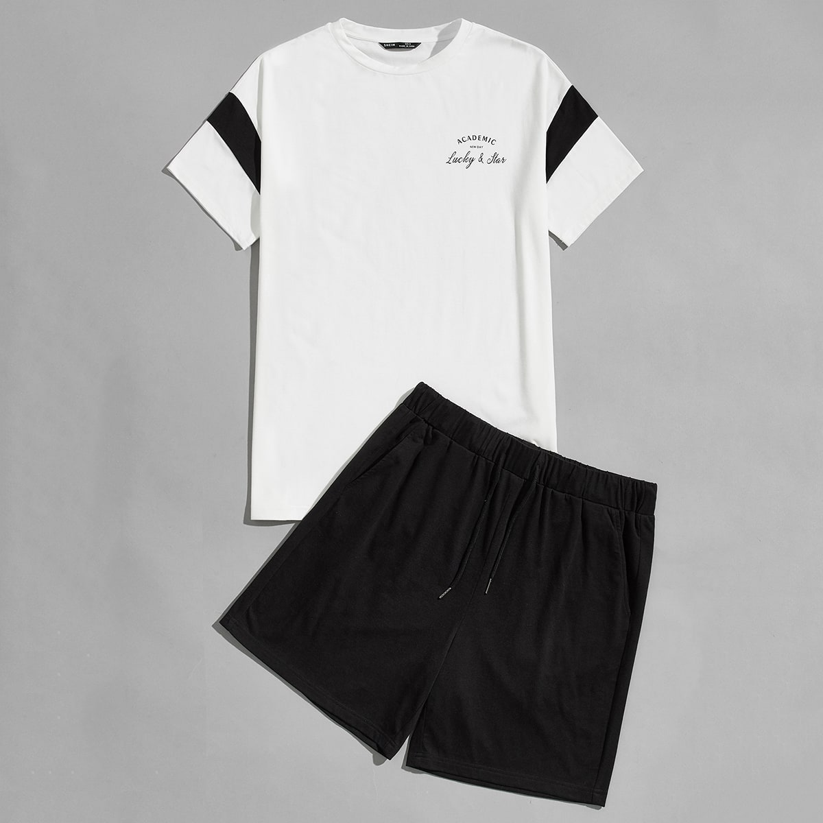 Men Letter Graphic Tee and Track Shorts Set, SHEIN  - buy with discount
