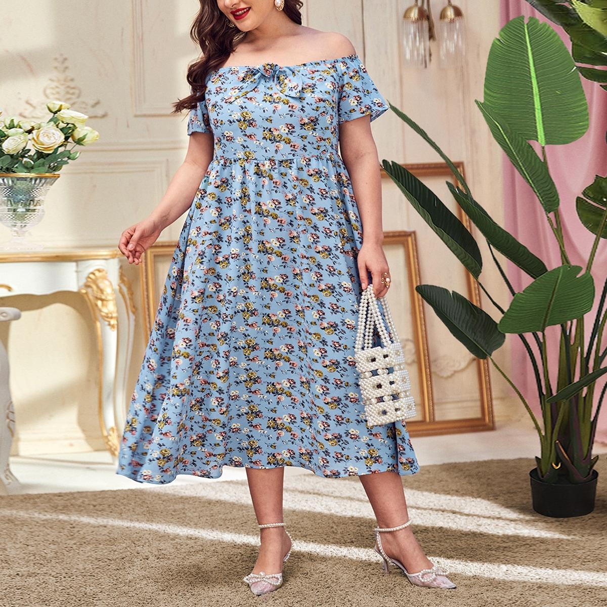 Застежка цветочный Бохо Платья размер плюс