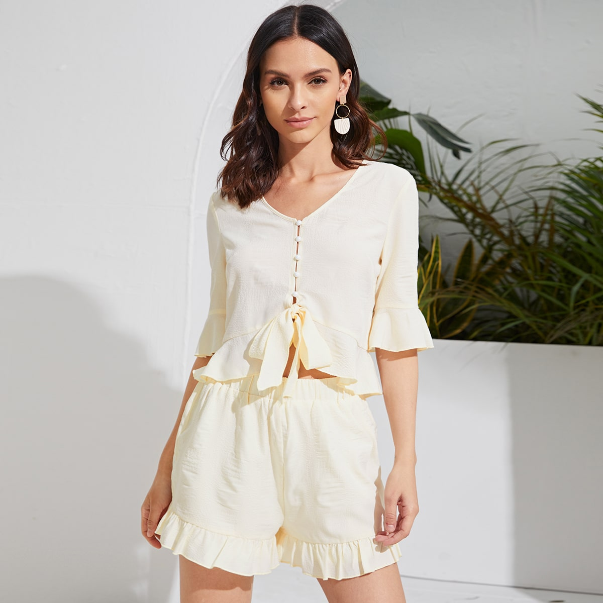 Knotted Ruffle Hem Top & Shorts Set, SHEIN  - buy with discount