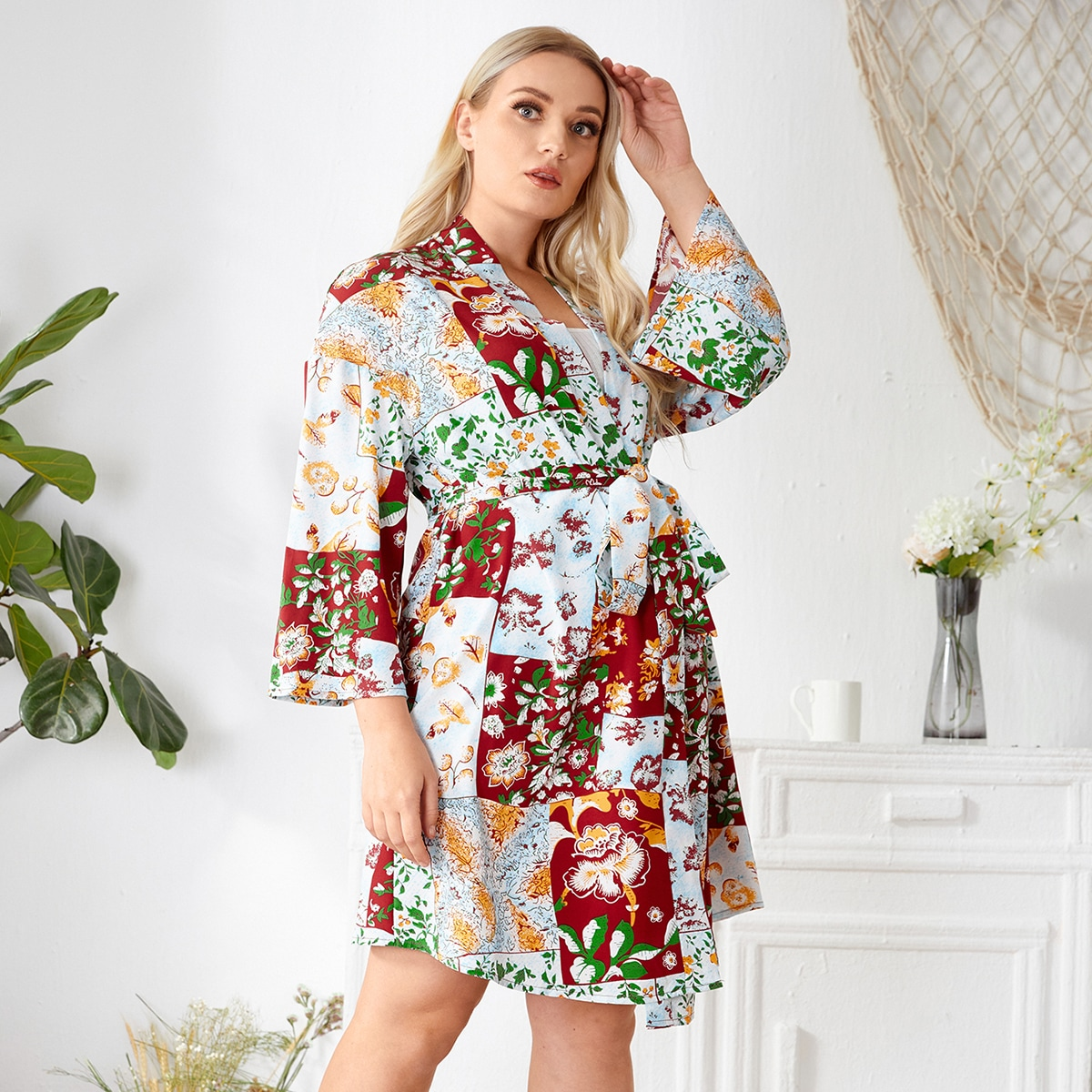 Plus 1Pc Floral Print Belted Robe