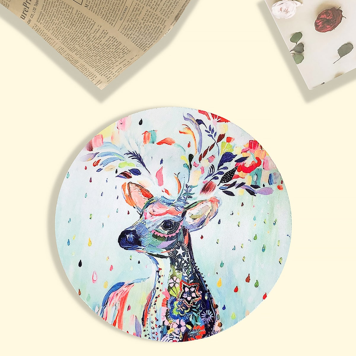 Oil Painting Deer Round Mouse Pad