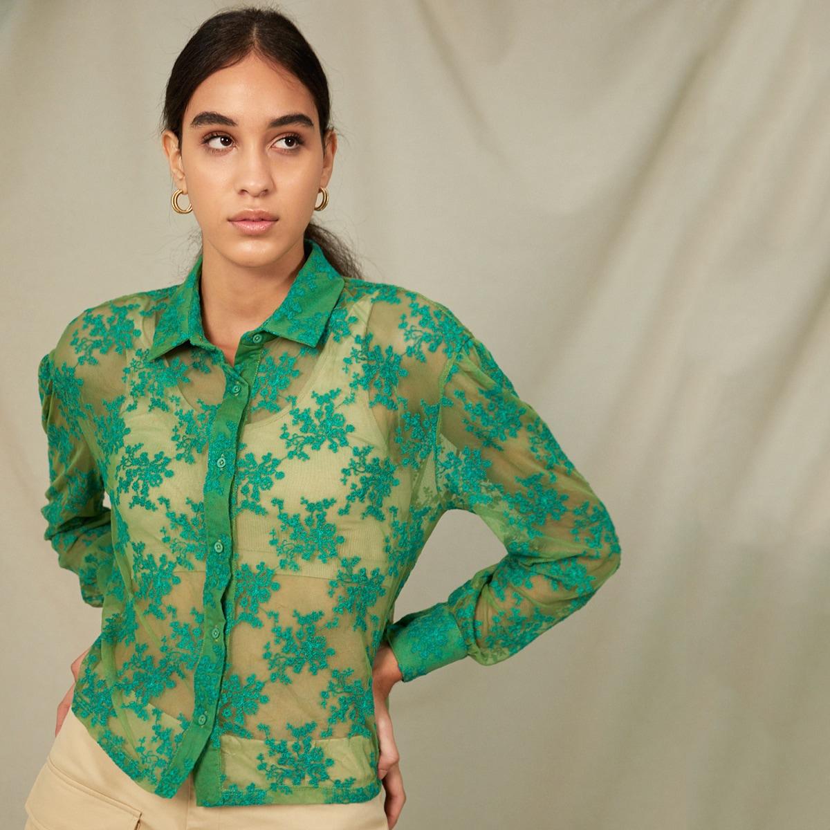 с вышивкой Цветочный Элегантный Блузы