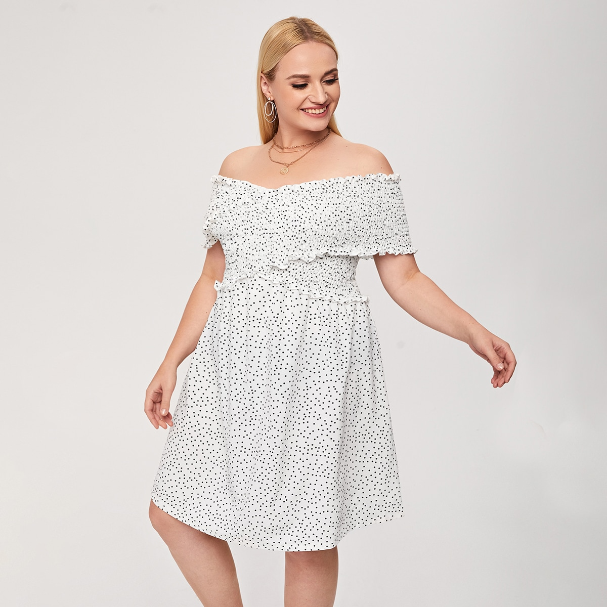 Оборка В горошек Повседневный Платья размер плюс по цене 990