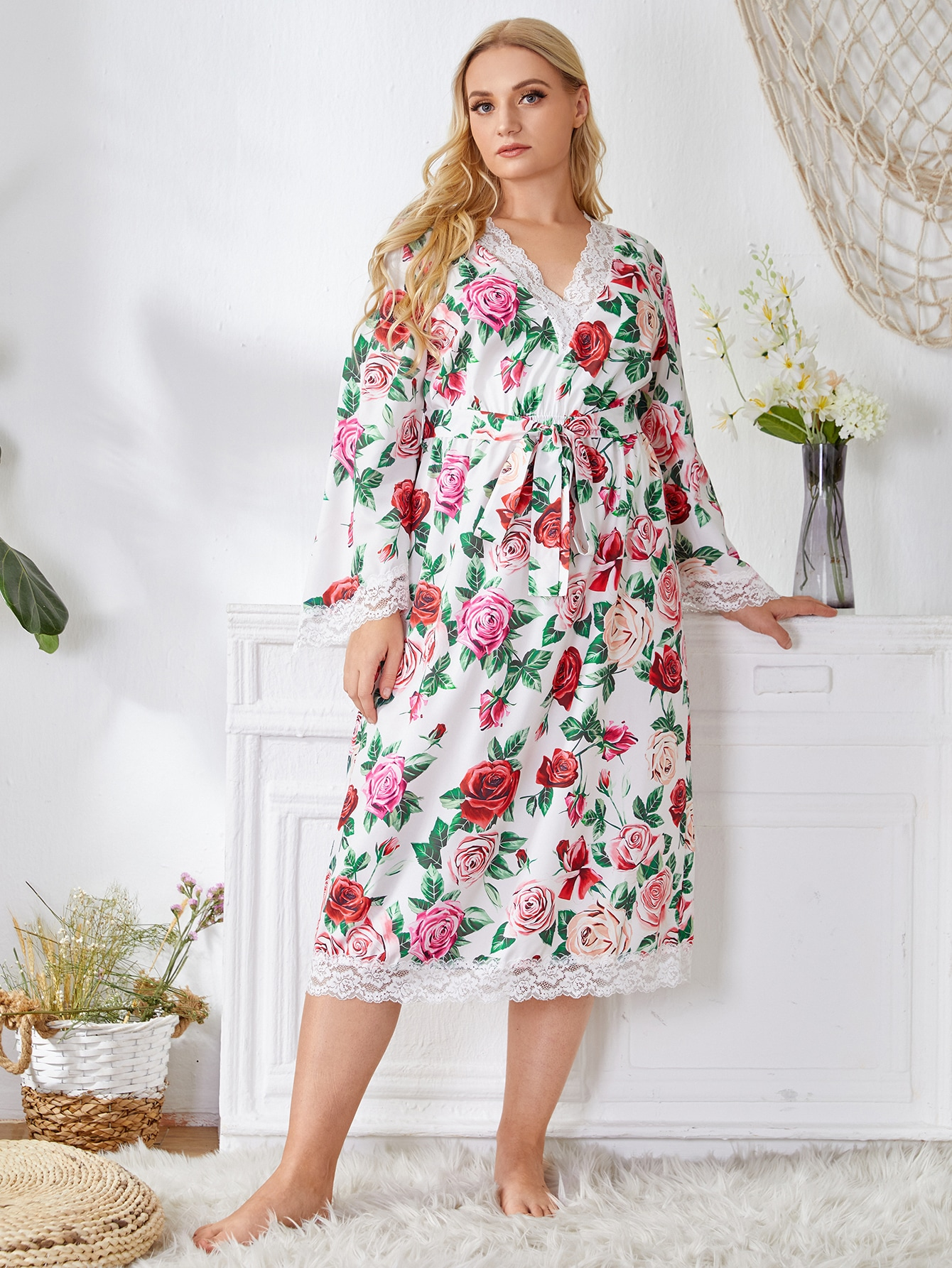 Plus Lace Trim Allover Floral Belted Night Dress