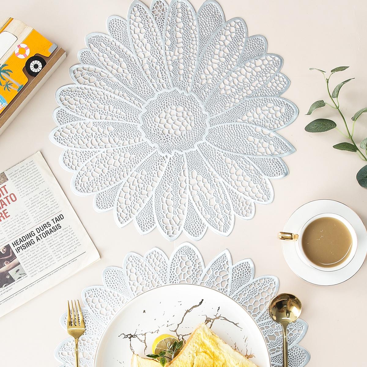 1шт коврик для столовых приборов в форме цветка