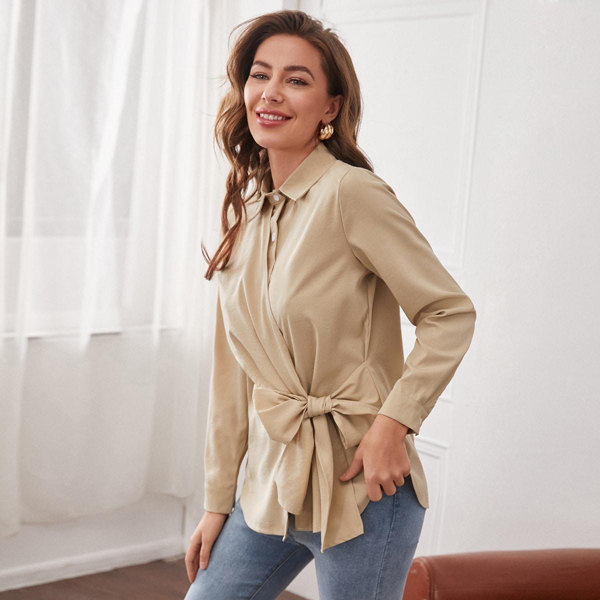 узел Одноцветный Элегантный Блузы